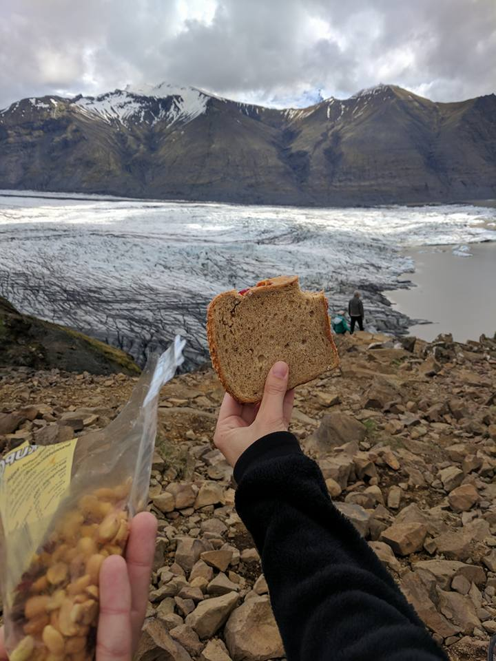 Enjoying PB&J on Rye (we thought it was wheat at the store) and trail mix with a view of the mighty glacier!