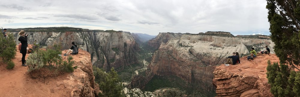 The panoramic view from Observation Point looking out over Zion Canyon in  Zion NPS!