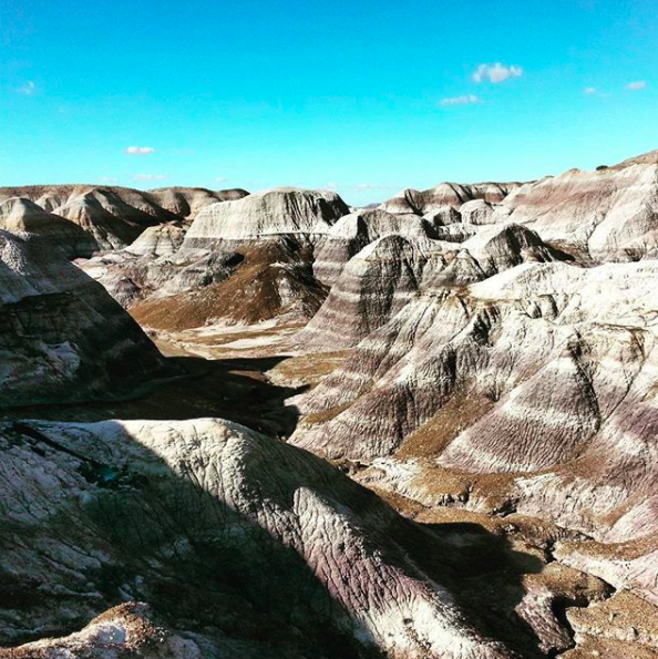 5. The Blue Mesa Badlands Trail in  Petrified Forest National Park . This makes you feel like you are in one of the Dakota's not Arizona. An easy loop and meander down through the trail gives you some amazing photo opportunities and the park as a whole is a beautiful and unique place to visit.