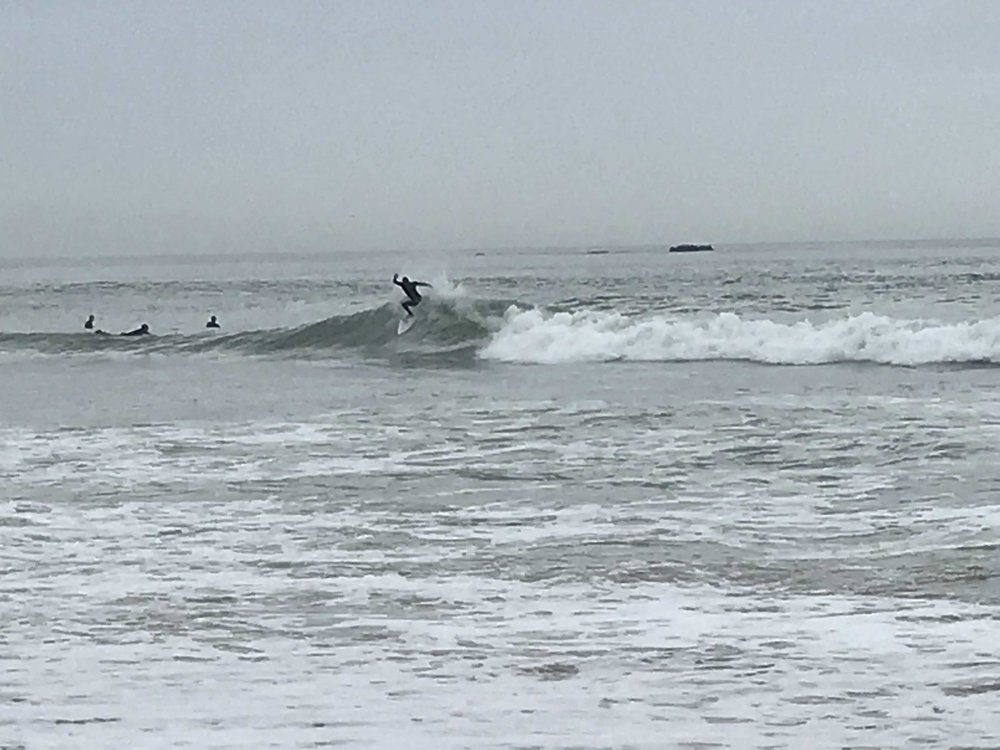 Surf's up in San Clemente for the diehards, I had to take a pass b/ of possible sewage flow!