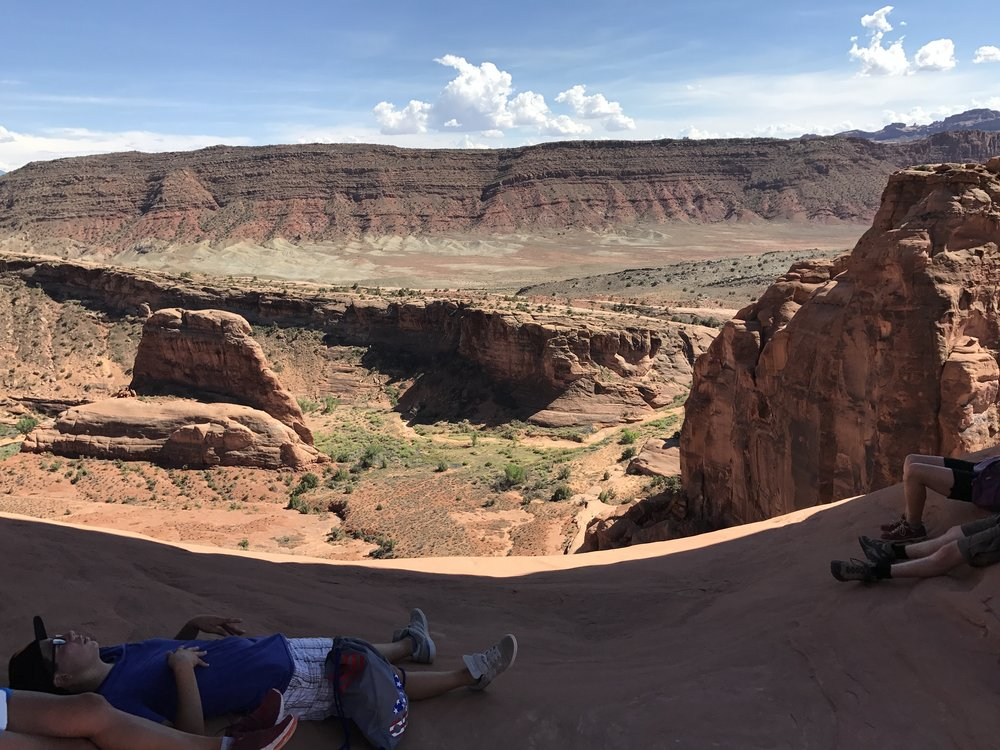 The view from underneath the iconic Delicate Arch in Arches National Park.