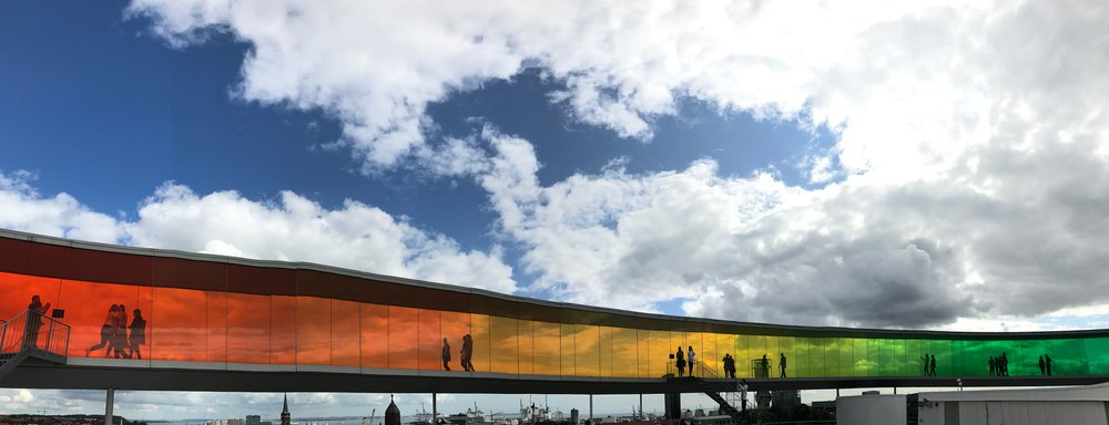 """I dare you not to spend way too long taking panoramic photos of  """"Your Rainbow Panorama""""  atop the museum."""