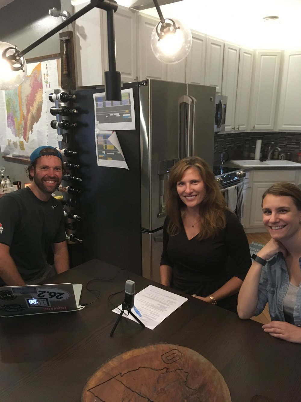 Mike R, Stacey K, and Amy K getting ready to record in person!