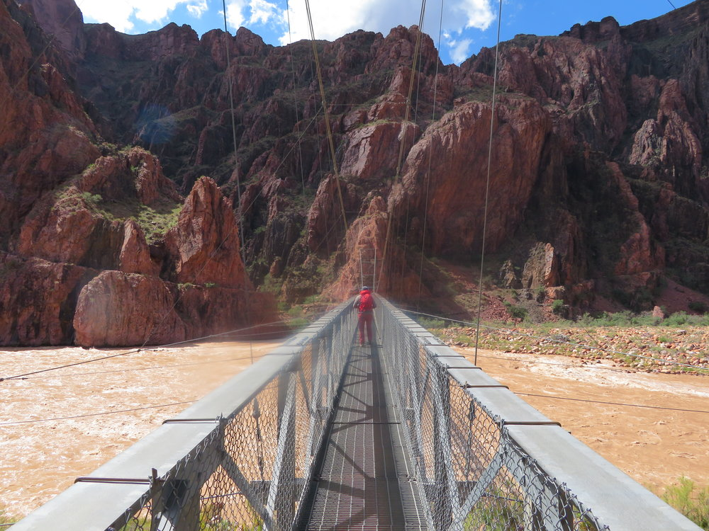 The suspension bridge connecting the North and South Rims of the Grand Canyon.