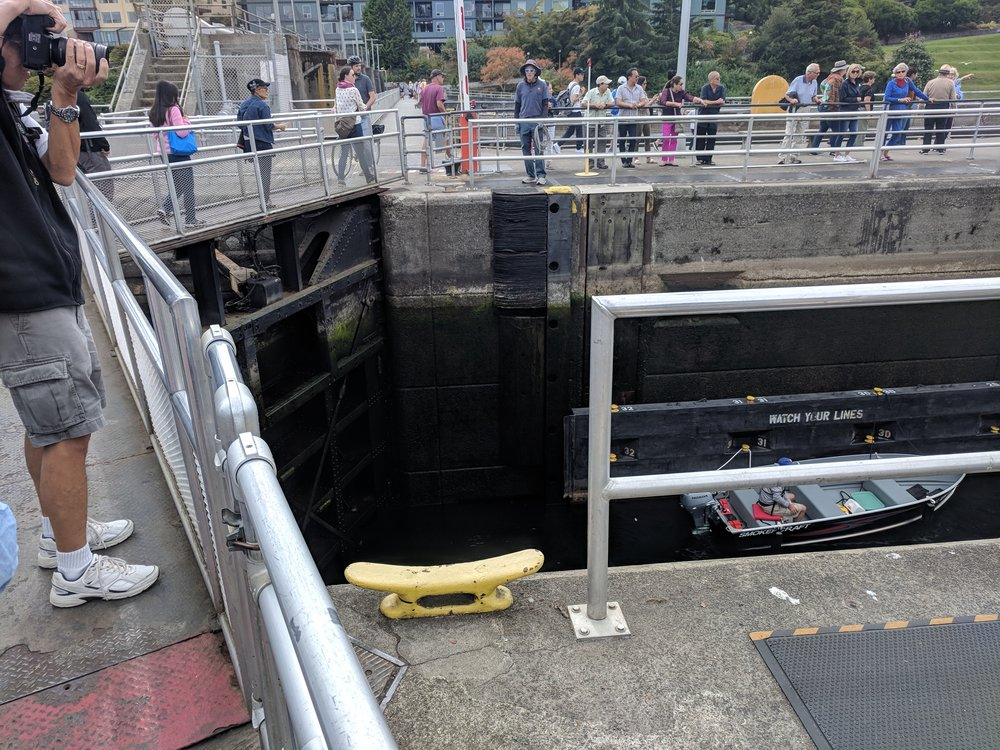 Boat waiting in the Ballard Locks