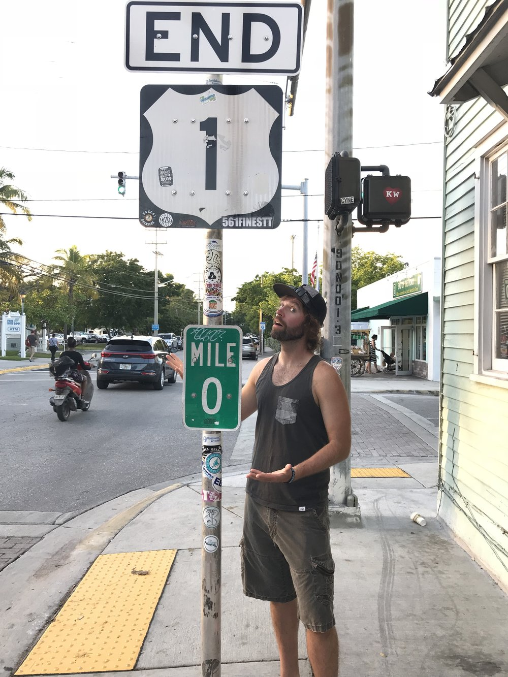 The end of Highway 1 in Key West. This road is 545 miles in length and stops at this intersection.