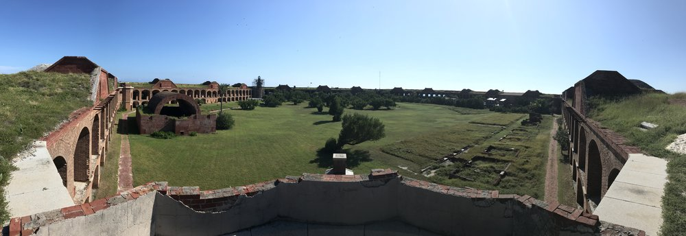 Panoramic view from the top of Fort Jefferson at Dry Tortugas National Park.