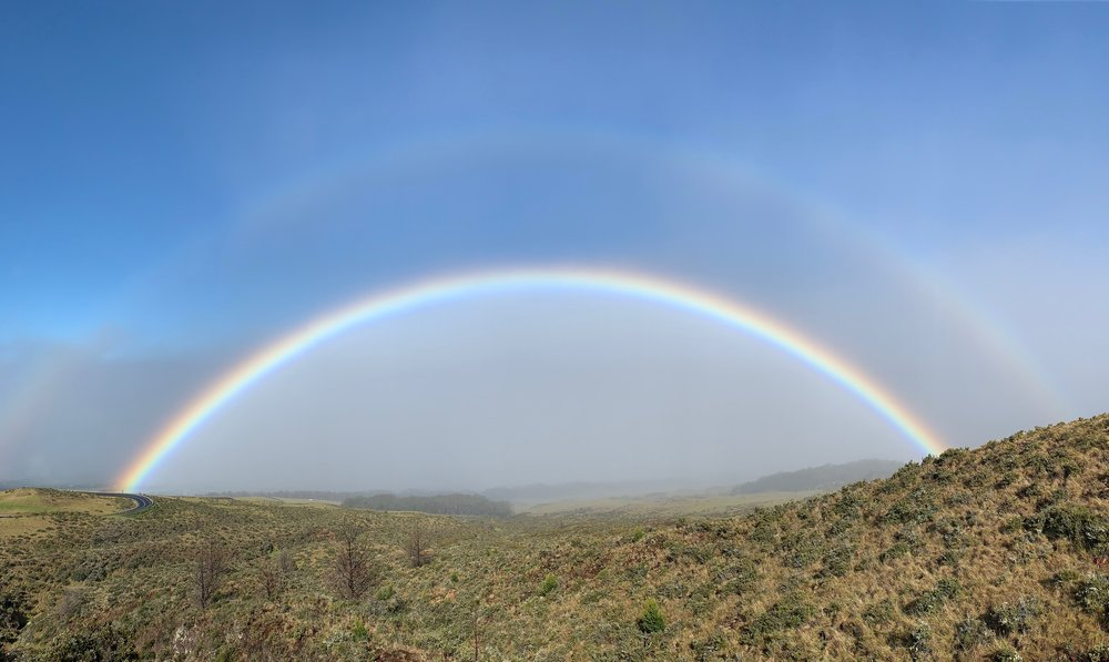 After the sun came up, the rain and clouds quickly took over the mountain, but it helped create this sight on down the road. To some, turning 40 might seem like a bit of a rain cloud, but that just means you've seen more rainbows.