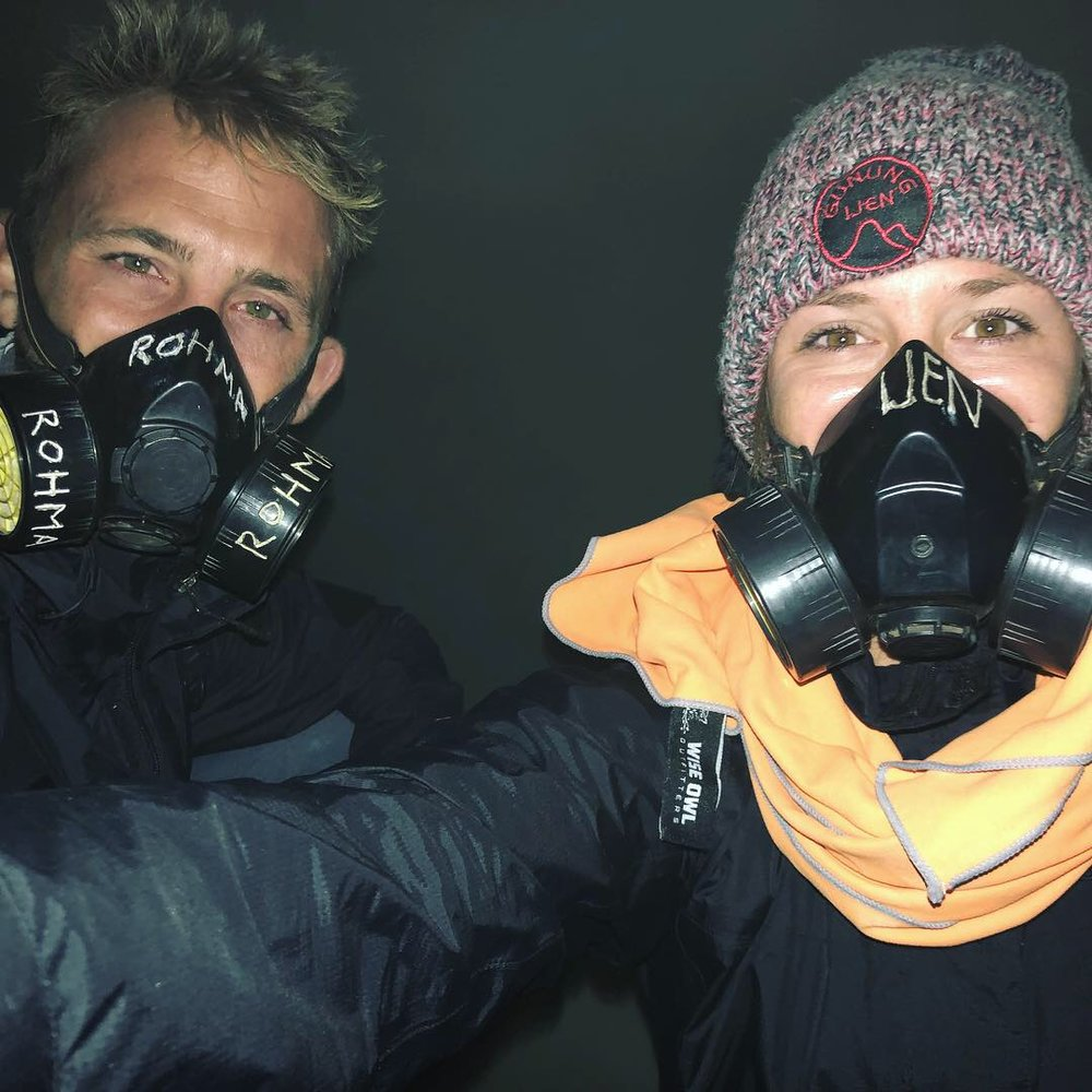 Chelsea and Adam C at Blue Fire Volcano in Indonesia