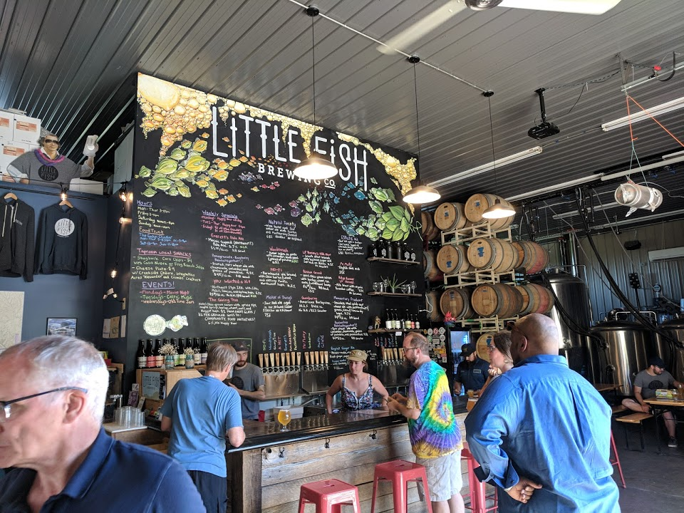 The interior of Little Fish Brewing Company