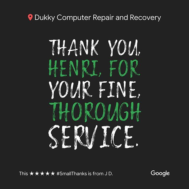 Thank you J.D.! We strive on our thoroughness and precision in each and every repair to give you your best option and value!  Leave us a review on Google or Yelp, and let us know how to improve! We love hearing positive and constructive criticism from all of our customers. Our goal is to satisfy everyone and improve all of their technological experiences! We look forward to posting your next review 😊 #smallthanks #bigthanks #loveourcustomers #googlereviews #loyallocalcustomers #happycustomers #dukky #dukkyrepair #dukkyrepairandrecovery #computerrepair #computer #applerepair #windowsrepair #harddrive #recovery #computerhelp #screenrepair #solidstatedrives #ssd #carpinteria #carpcomputerrepair #carpinteriarepair #cheaperthanapple #goodasnew #technology #techhelp
