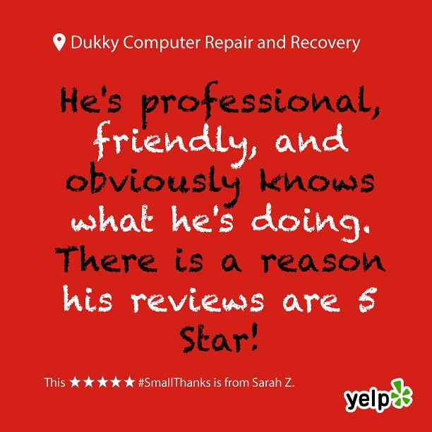 Thank you Sarah Z.! We're here to help in any way we can! Technology can be overwhelming and stressful at times, but with a glass half full it is a useful tool! (As long as you keep the glass half full out of reach from your tech 😝) Leave us a review on Google or Yelp, and let us know how to improve! We love hearing positive and constructive criticism from all of our customers. Our goal is to satisfy everyone and improve all of their technological experiences! We look forward to posting your next review 😊  #smallthanks #bigthanks #loveourcustomers #googlereviews #loyallocalcustomers #happycustomers #dukky #dukkyrepair #dukkyrepairandrecovery #computerrepair #computer #applerepair #windowsrepair #harddrive #recovery #computerhelp #screenrepair #solidstatedrives #ssd #carpinteria #carpcomputerrepair #carpinteriarepair #cheaperthanapple #goodasnew #technology #techhelp