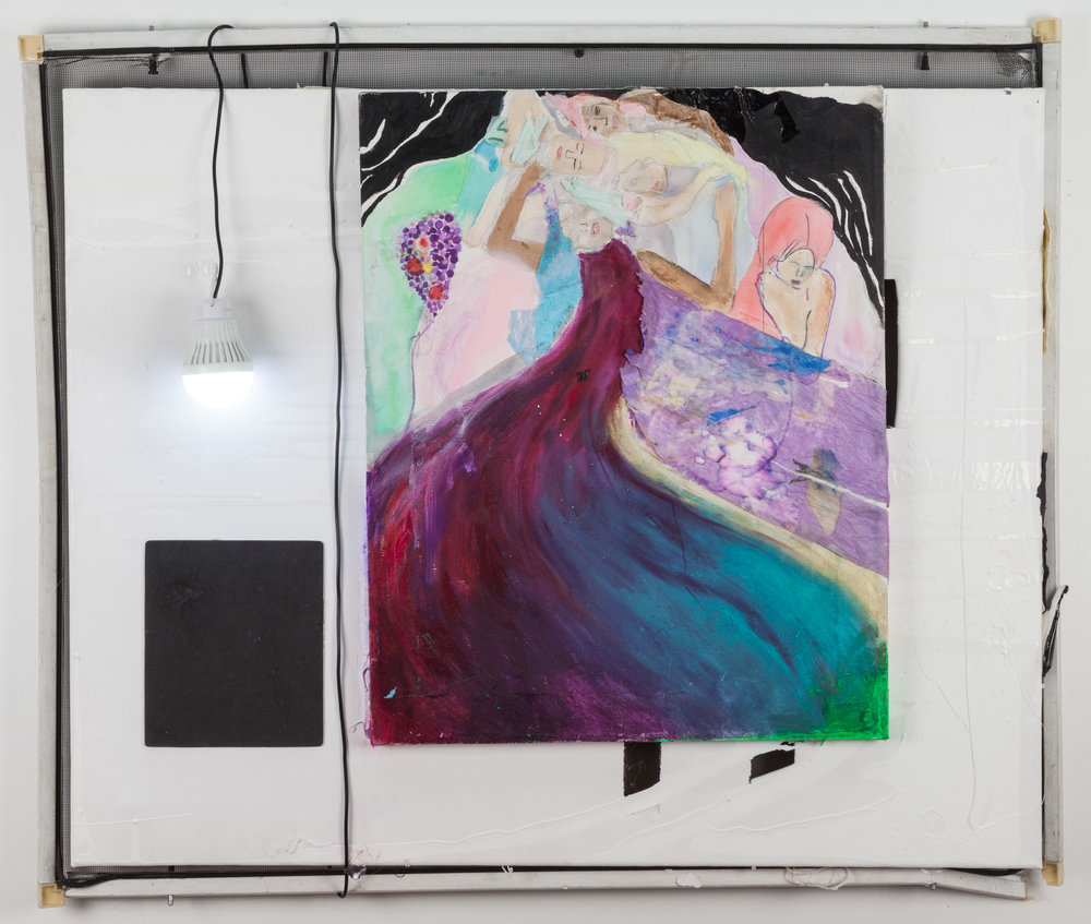 "Klimt, Virgins, and a USB Light Bulb , 2016, window screen, acrylic paint, ink, portable battery, USB light bulb, felt, plastic bag, paper lantern on canvas, 28"" x 32"" x 3""."