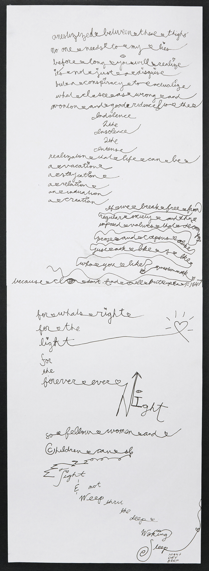 "Word Poem (a cry to legs) , 2015, ink on paper, mounted on foam board, 23"" x 9""."