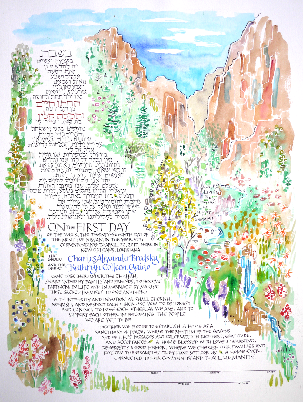 custom watercolor ketubah by Risa Aqua