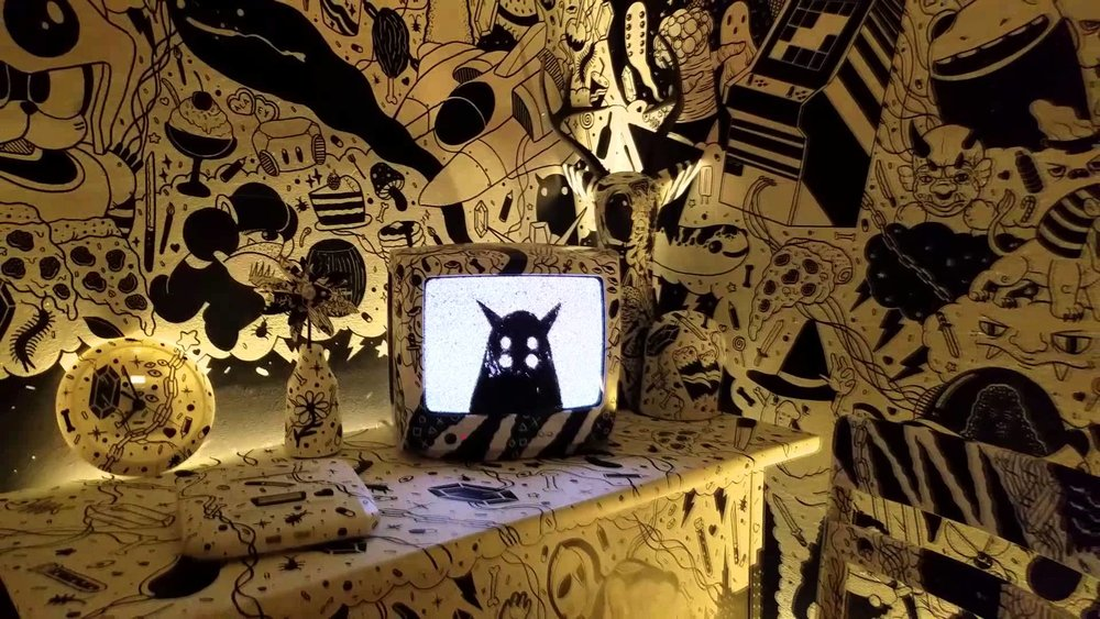 A small example of video in  Meow Wolf: House of Eternal Return