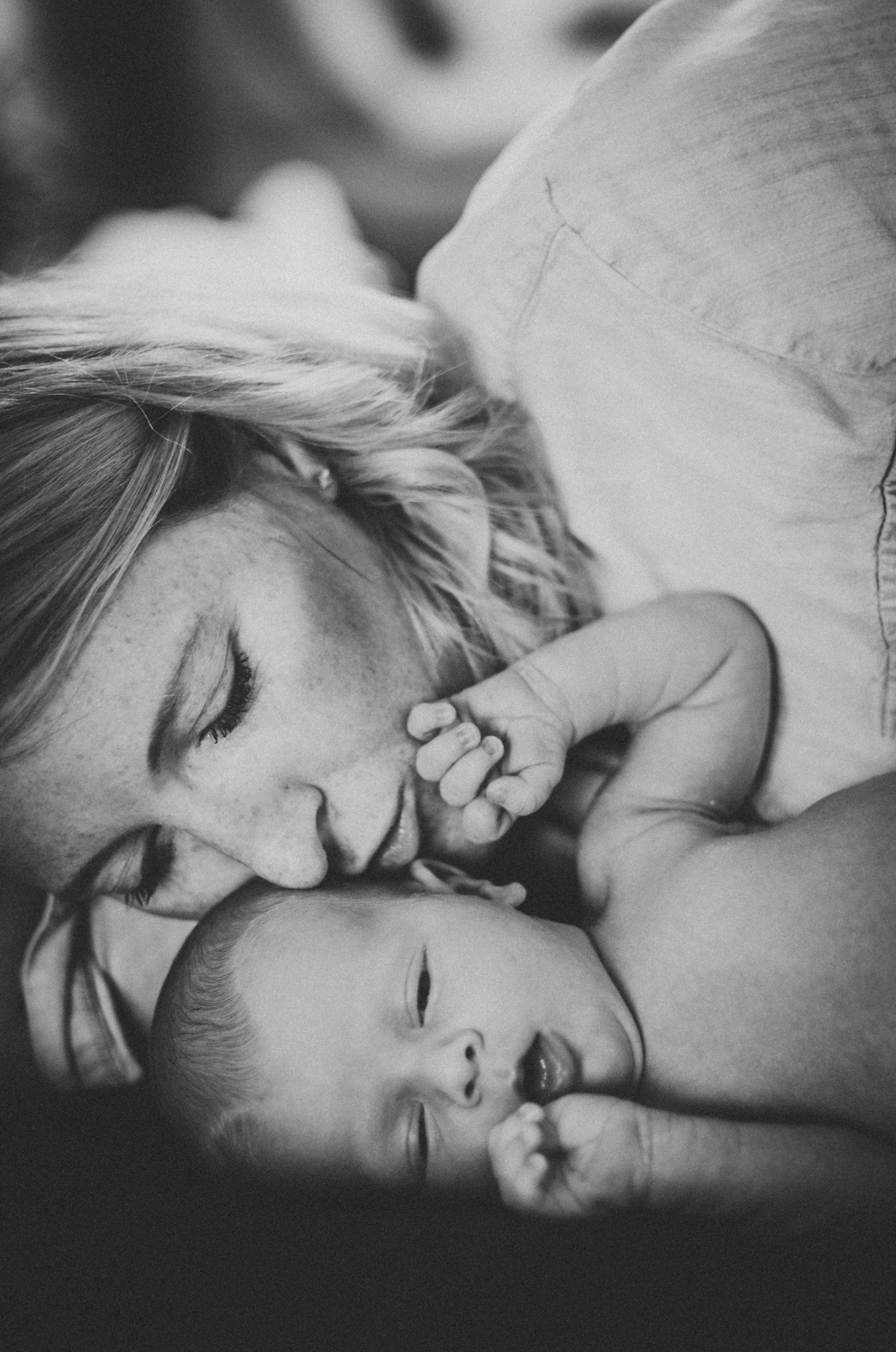 Mother's love in monochrome London Newborn Photographer Wandsworth