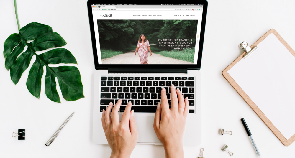 """The very first banner on my homepage says front and center """"STudio k8ki is a branding & web design studio for creative entrepreneurs with a vision"""" - right away you know what I do and who I do it for."""