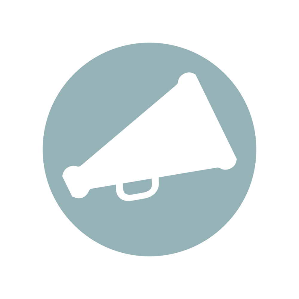 Megaphone icon representing public speaking services.