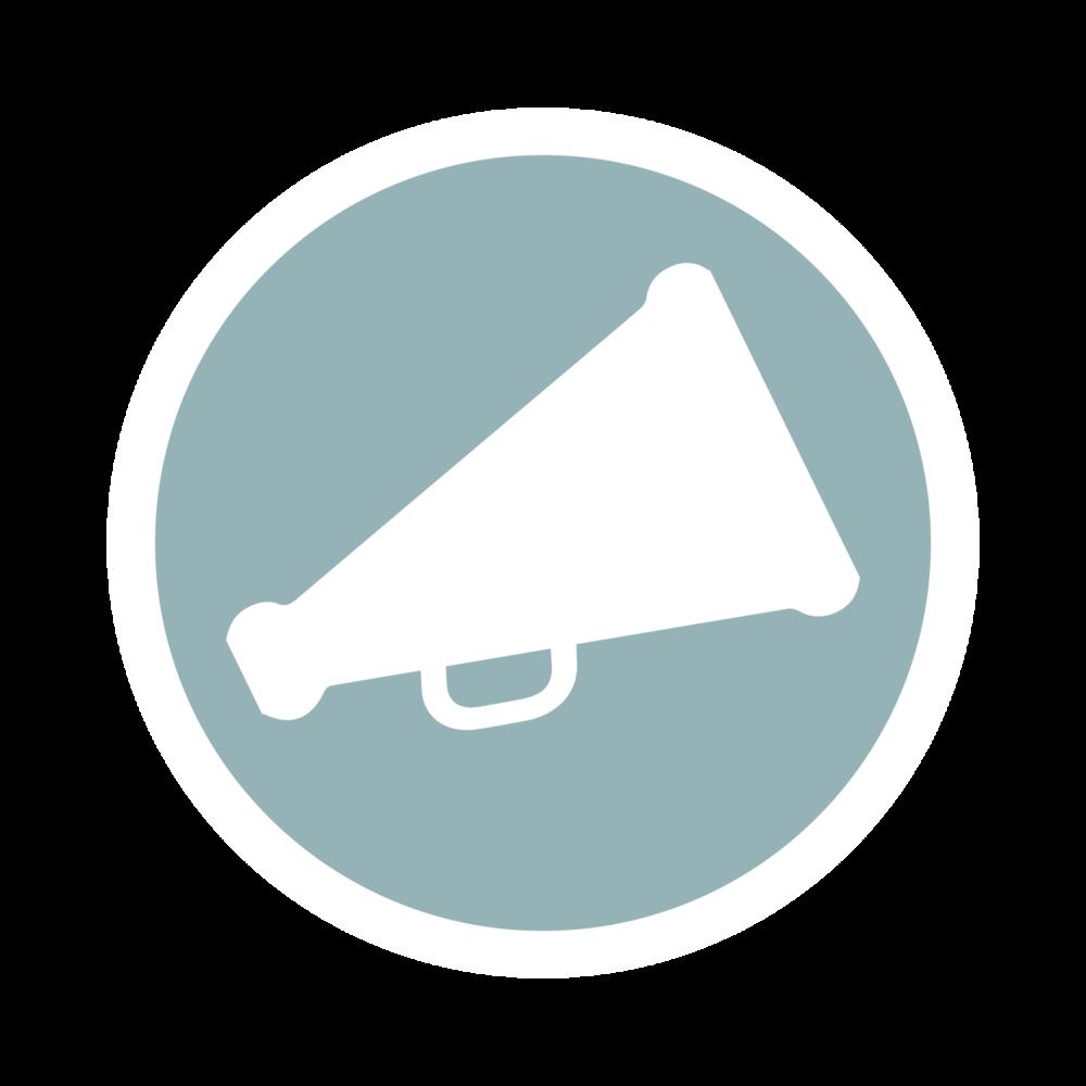 Megaphone graphic representing Public Speaking services.