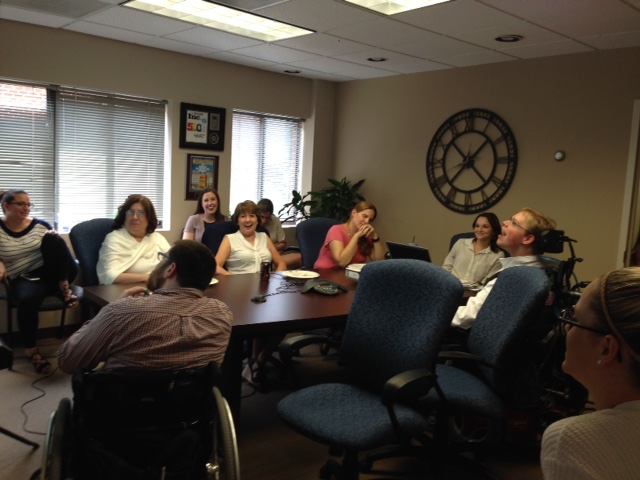PHOTO: Matthew presenting his disability sensitivity training to New Editions Consulting Inc. staff