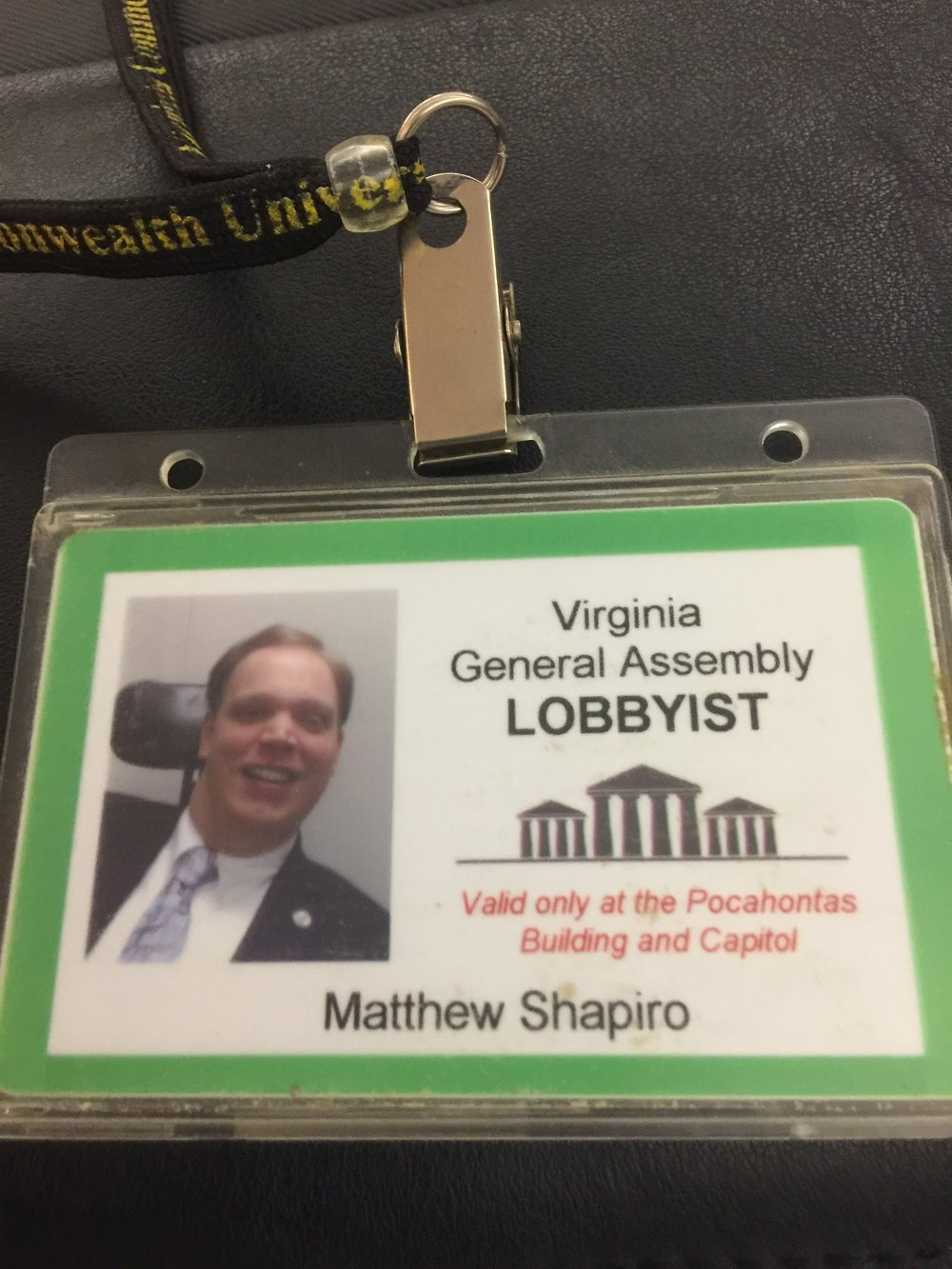 PHOTO: Matthew's Lobbying badge during his first year lobbying for The Virginia Association of People Supporting Employment Lobbying (VAAPSE)