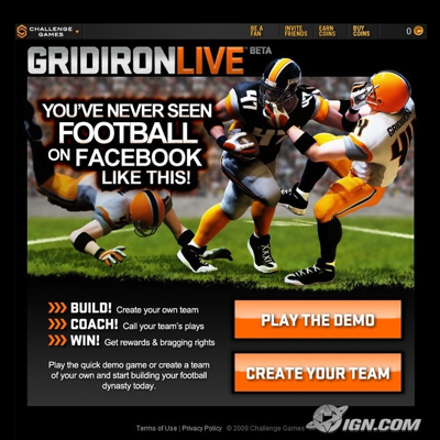 GRIDIRON LIVE  - A multiplayer, head-to-head football play-calling game for Facebook.