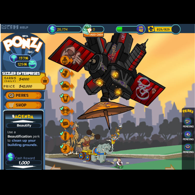 PONZI - A casual, social game that utilized business and economic concepts to entertain. (#1 growing FB game, Oct 2009)