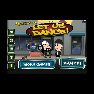 "JAY AND SILENT BOB – LET US DANCE  - A rhythm game featuring ""Jay and Silent Bob"" under license."