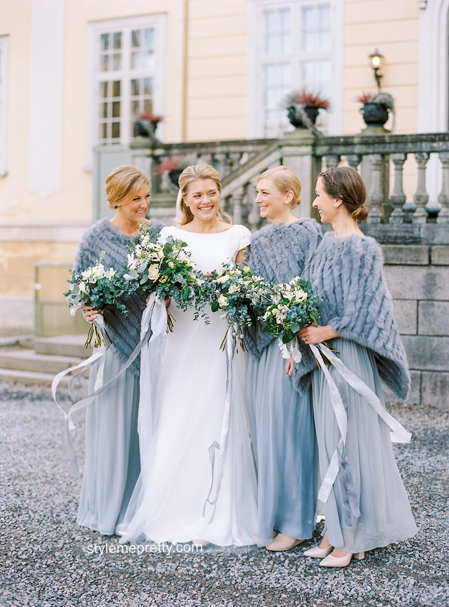 Dusty blue and greenery   http://www.stylemepretty.com/2017/09/05/an-outdoor-winter-wedding-in-sweden/