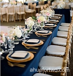 Blue and gold   http://www.ahuefortwo.com/2016/01/navy-blush-and-gold-garden-wedding.html