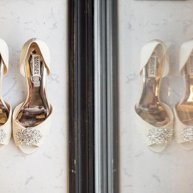 The perfect shot of these beauties before hitching a ride down the aisle 💕  Such a sweet and simply detailed heel.