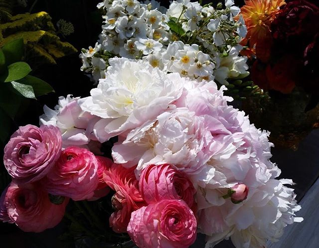 A little #tbt to this beautiful bounty we scored at #swgmc earlier this year! Nothing makes us happier then peonies and rununculus!