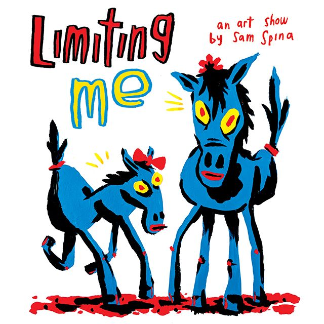 "Join us at the Temple THIS FRIDAY 3/16 for ""Limiting Me"" — A @spinadoodles solo show! Cartoonist and painter Sam Spina will be releasing a new comic ""I'm Dead"" and a new poster printed right here! Opening Reception Friday night 7-11pm. Free / All ages!"