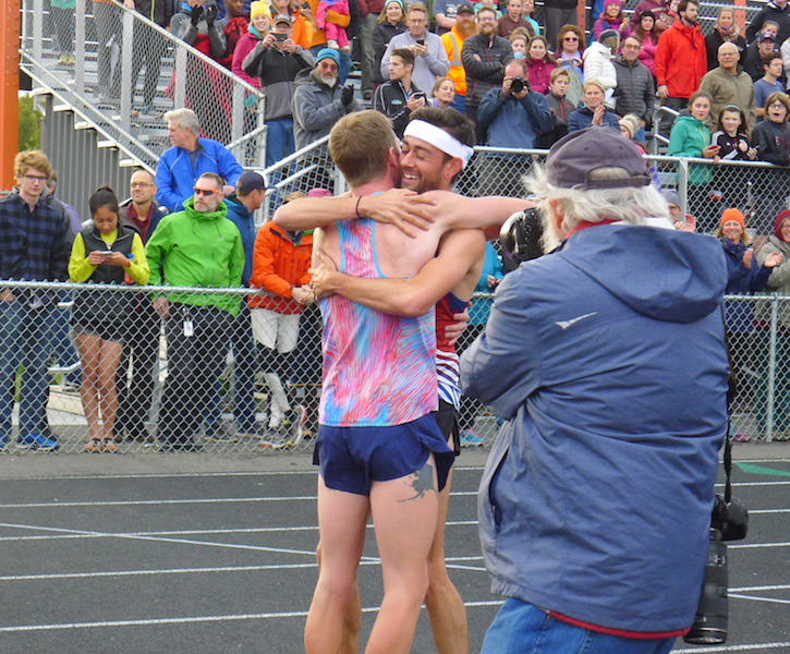 Alaska's Trevor Dunbar congratulates Hoka One One's Kyle Merber after Merber won the Great Alaska Mile Series race Wednesday, Sept. 13, at West Anchorage High School in Alaska. Dunbar was hoping to be the first Alaskan to break the 4-minute mile mark on Alaskan soil. Instead, Merber became only the second runner to accomplish the feat with a time of 3:59.36. OTC Elite's Ben Blankenship also slipped in under 4 minutes, making him the third person to run a sub-4 in Alaska. His time was 3:59.67. Dunbar placed fourth in 4:02.21, but he has one more chance as the race series concludes on his home turf on Kodiak Island, Saturday, September 16.