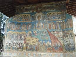 Judgement Day. External painting on the western wall of the Monastery Voronets, Romania (16th century)