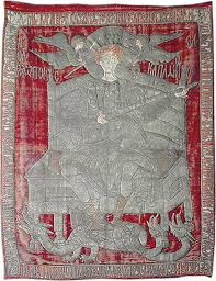 The flag of the Moldova (depicting the Patron Saint of the country, St. George) during the rule of the St. Steven the Great (1457-1504)-Monastery Zografou