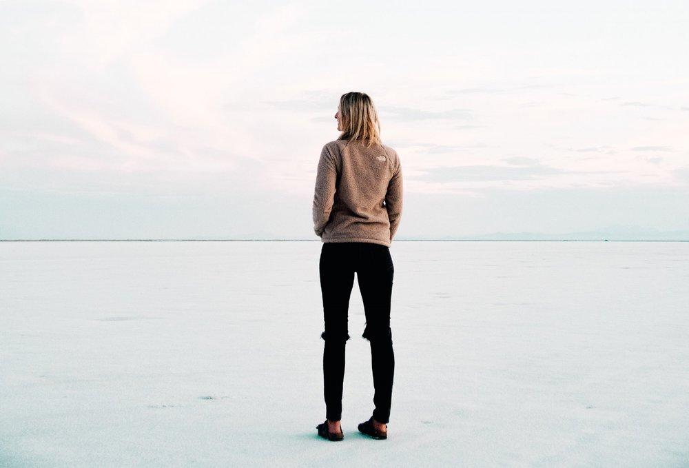 Sarah Dalton   looking over the otherworldly West Desert|  Edward Arthur Dalton