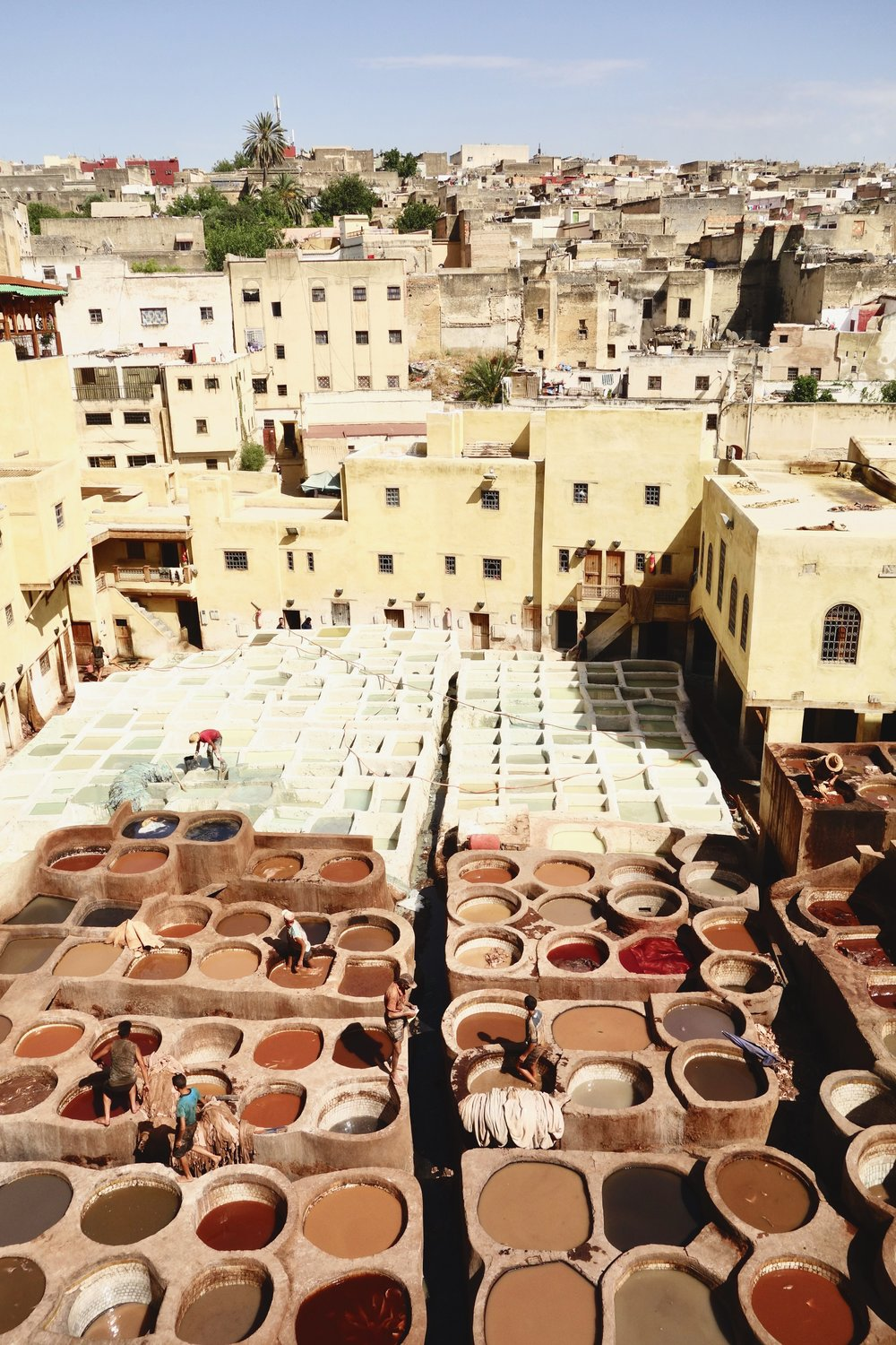 The tannery in Fes, where they make leather start to finish.