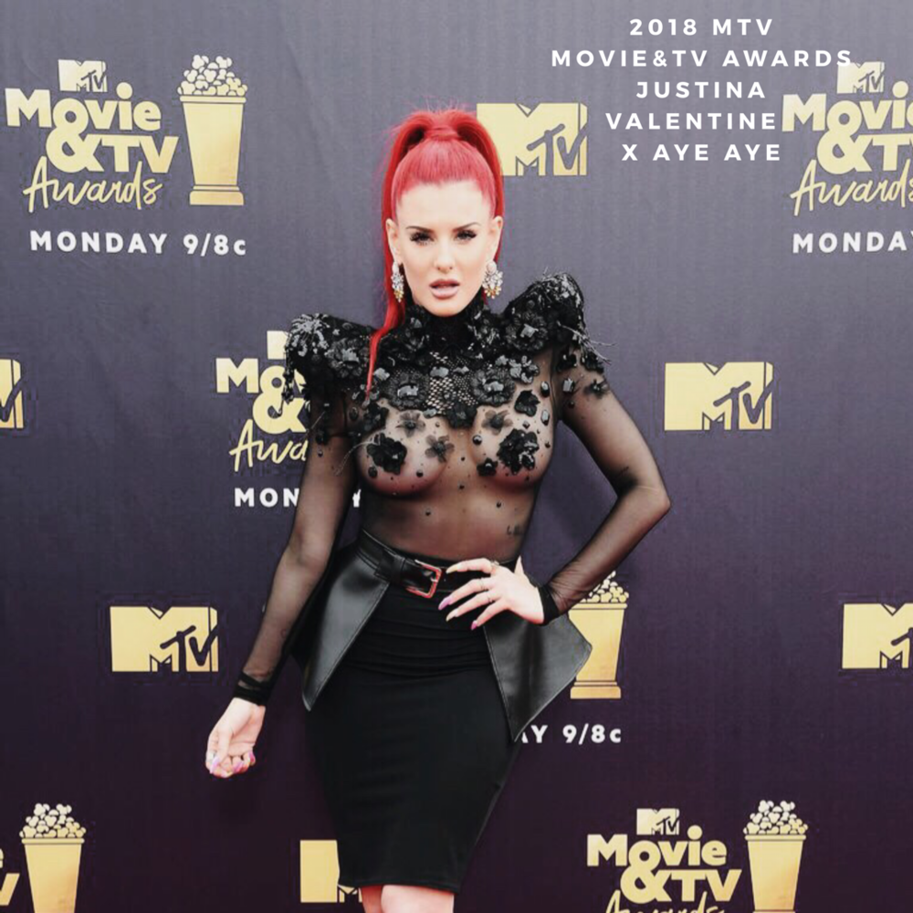 MTV Music & TV Awards - Justina Valentine featured in Cosmopolitan top 10 sexist of looks of the MTV Music & TV Awards, 2018.  Justina wow structural ensemble featured a skintight pencil skirt, which she accessorised with an eye- catching peplum belt and Aye Aye Aurora Sky Earrings.