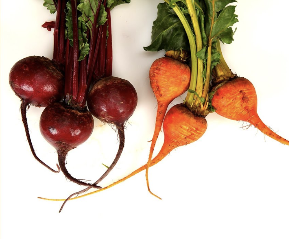 Organic red & gold beetsBunch: $2.49/bunchLoose: $1.49/lb - Locally grown!