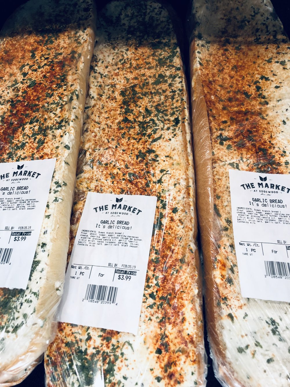 garlic bread $3.59 ea. (reg. $3.99) -