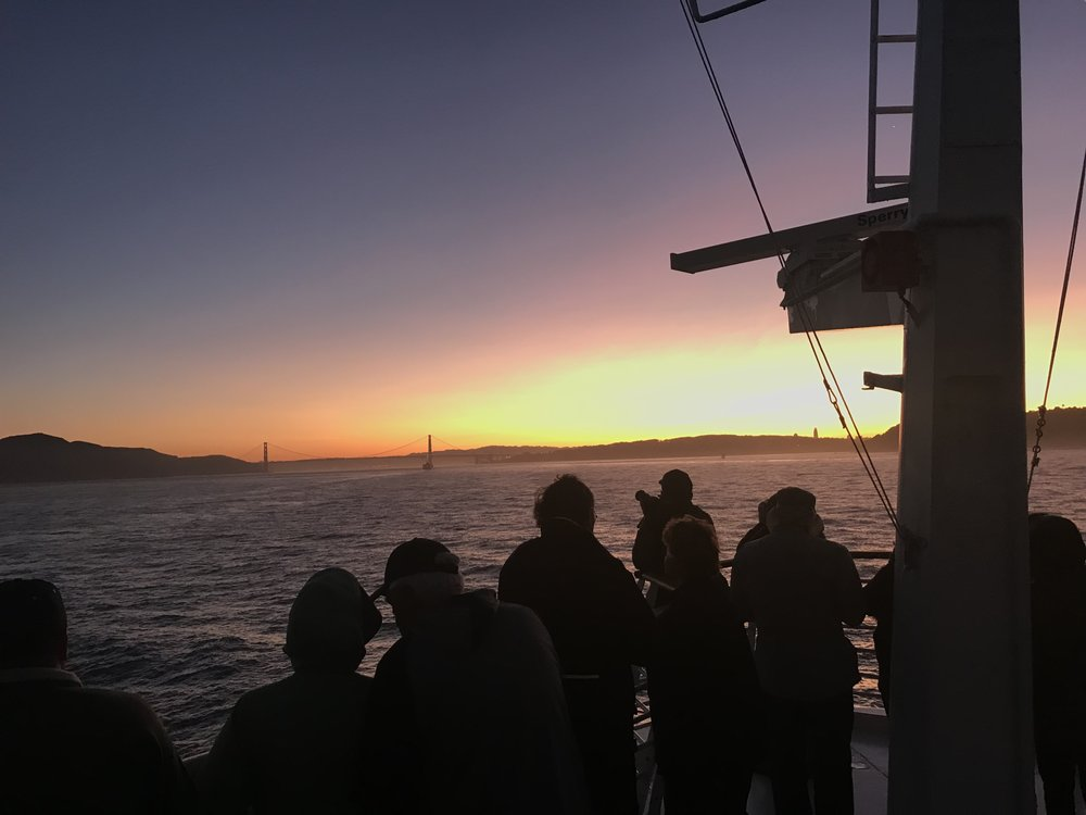 Sunrise sailing into San Francisco