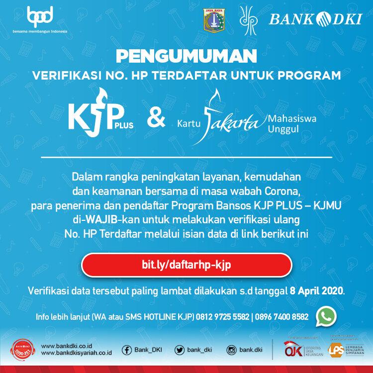 Pengumuman Untuk Penerima Bansos Kjp Plus Kjmu Jakone Mobile Bank Dki