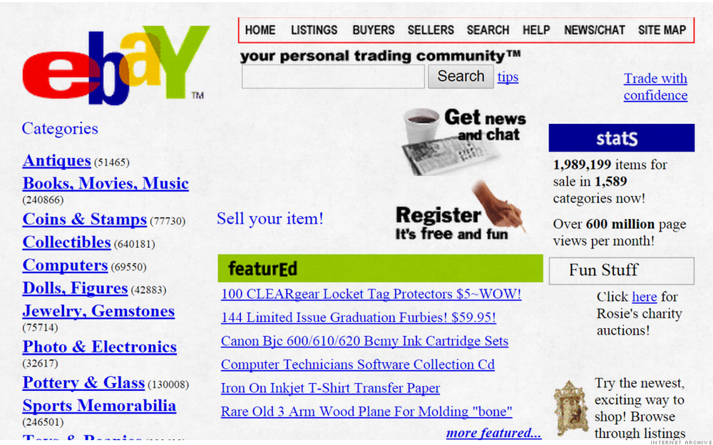 Ebay\'s old website? Check this video out of all the old websites ...
