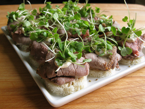Roast Beef Tea Sandwiches with Whole Grain Dijonnaise and Micro Arugula -
