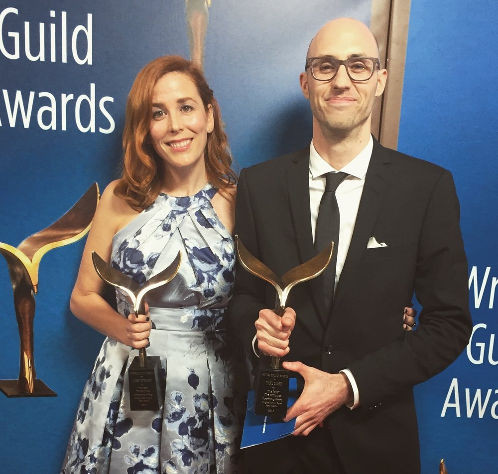 Linsey Stewart & Dane Clark at the 2017 Writer's Guild Awards