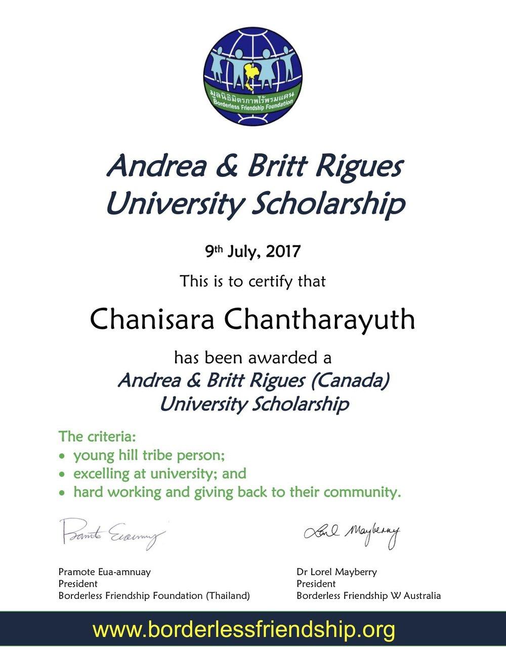 Andrea & Britt Rigues University Scholarship - Chanisara Chantharayuth.jpg