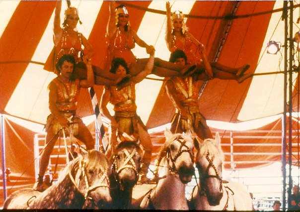 Sacha (far left) forming a horseback pyramid in Circus Flora.