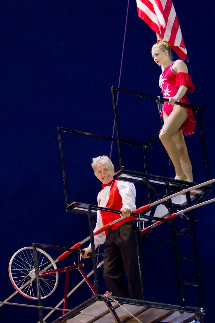Sacha and his step-daughter Zoe on the Flying Wallenda platform. Photo by Gene Kissin,